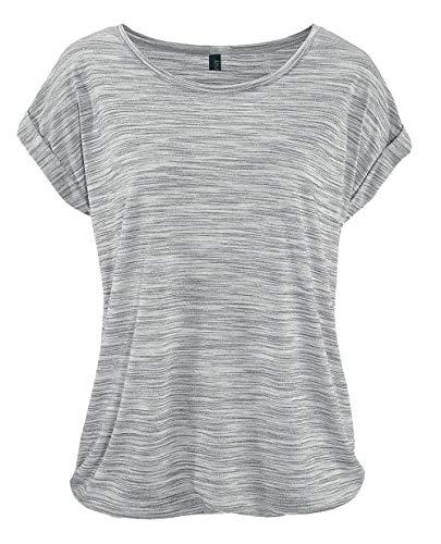 DOTIN Damen T-Shirt Rundhals Kurzarmshirt Lose Stretch Sommer Oberteil Casual Bluse Tops