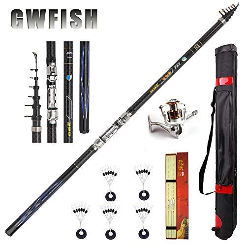 GWFISH Kit Combinado De Carrete De Caña De Pescar Telescópico, Caña De Pescar con Bolsa De Pesca, Cañas De Pescar De Fibra De Carbono Fuerte,3.6m