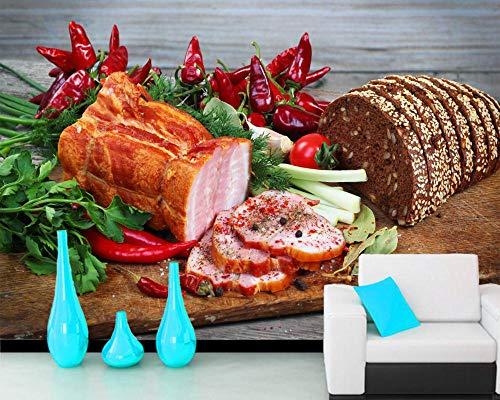 XQFZXQ Tapete Tapete Selbstklebend PVC Schinkenbrot Gemüse Pfeffer Schneidebrett Lebensmittel Restaurant 3D Wandbilder Für Fernseher Hintergrund Wohnzimmer fototapete 3d effekt tapet(B)200x(H)150cm