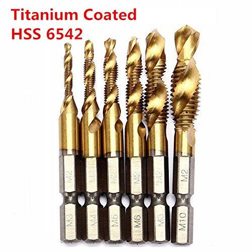 ADAALEN 6pcs HSS 6542 Titanium Gecoat M3-M10 Combinatie Boor Tap Bit Set 1/4 Inch Hex Metrisch Deburr Countersink Bits