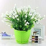 YLCJ Flor Artificial Phalaenopsis Conjunto Jarrón Verde Orquídea En...