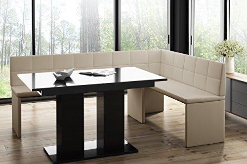 Mystylewood hoekbank Marta Creme met zuiltafel zwart keukenbank zithoek dik bekleed kunstleer onderhoudsvriendelijk stabiel houten frame 196x142R