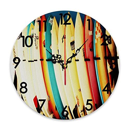 GEEVOSUN Reloj de Pared Redondo Reloj silencioso Que no Hace tictac Juego de Ropa de Cama con Estampado de Tabla de Surf Retro, decoración del hogar para Sala de Estar, Cocina, Dormitorio y Oficina d