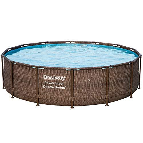 Bestway Power Steel Deluxe Series Frame-Pool, 427 x 427 x 107 cm, rund, Rattan braun, 14.970 Liter, ohne Pumpe und Zubehör, Ersatzteil, Ersatzpool