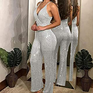 Jumpsuit Party Women Glitter Strappy Jumpsuits Gold Bling Sequins Romper Plus Size 3XL Long Outfits V Neck Bodycon Jumpsuits Long Overalls (Color : Silver, Tamaño : XXX-Large)