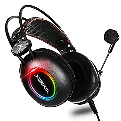 XIBERIA-E3 Xbox one Headset, PS4 Headset, 3.5mm Surround Stereo Ultralight Gaming Headset with Mic Soft Memory Earmuffs for PC, Laptop, Video Game with Flexible Microphone Volume Control, RGB Light