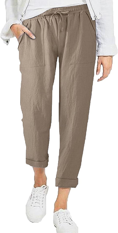 Women's Drawstring Slacks Lightweight Cotton Linen Back Elastic Tapered Pants Casual Loose Pocket Walking Trousers (XX-Large,Khaki)