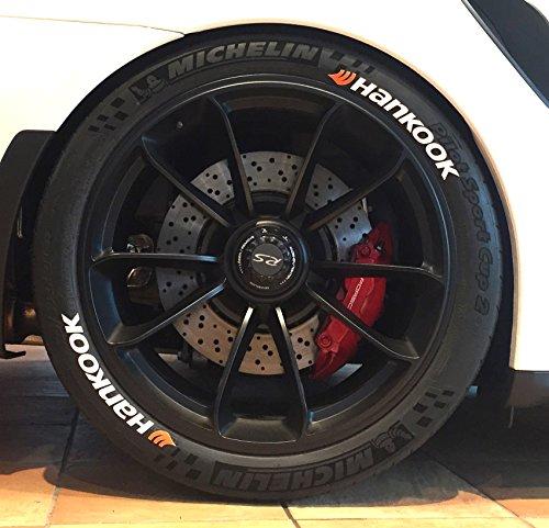Tire Style 4 x Reifenaufkleber - Hankook mit Logo- Farbe: weiß Reifenschrift (18 Zoll)