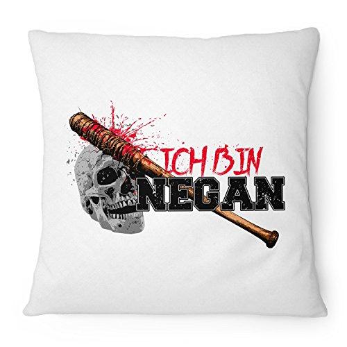 Fashionalarm Kissen Ich bin Negan - 40x40 cm mit Füllung | Geschenk Idee für Fans der Serie T-W-D | Dead Walking Lucille Saviors Baseballschläger, Farbe:weiß
