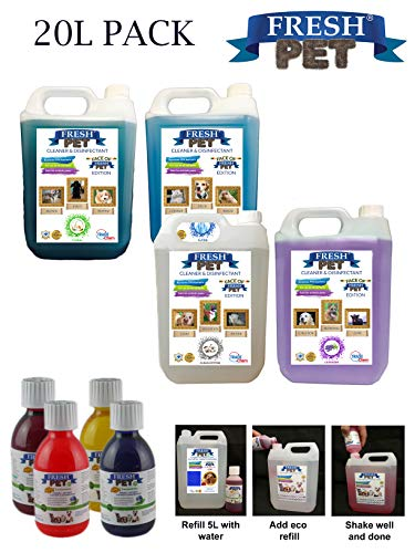 Trade Chemicals FRESH PET ECO Refill to make 4x5L Kennel, Cattery, Pet Disinfectant, Cleaner (TROPICAL PACK) 4