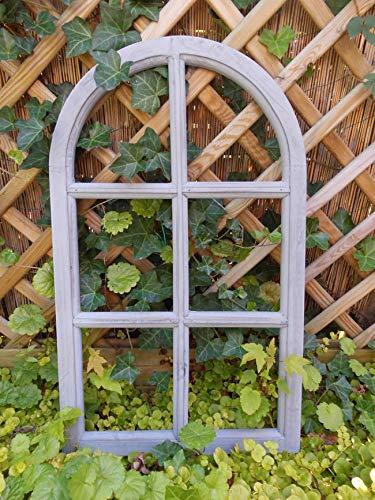 Deko-Impression Fenster Sprossenfenster Bilderrahmen halbrund Wanddeko Holz grau 70cm