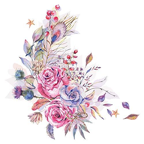 dekodino® Wandtattoo Blumen Aquarell Blumenranke Feder Motiv Wandsticker