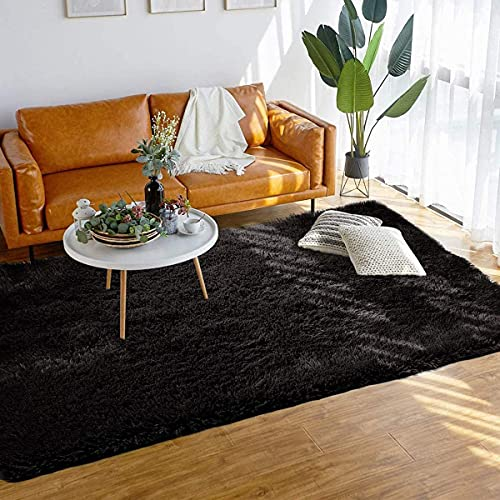 Alfombras Salon Grandes Cómodo y Suave Moderna Alfombra Antideslizante Alfombra Shaggy Adecuado para Sala de Estar Dormitorio Estudio Habitación Infantil(Negro, 185*185cm)
