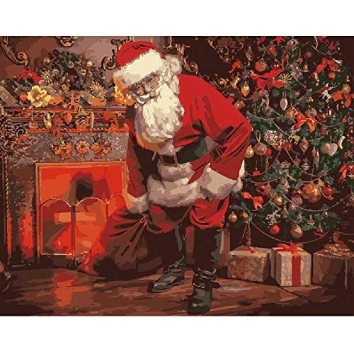 MYSZS Paint By Numbers Kits for Adults And Kids,With Brushes And Acrylic Pigment for Pre-Printed Canvas Art Home Decoration (Santa claus fireplace) 16*20 inch Without Frame
