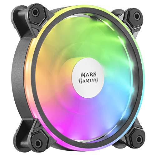 MARSGAMING MFX, Ventilador PC 12cm, ARGB Dual, Ultra-silencioso 14db, Negro