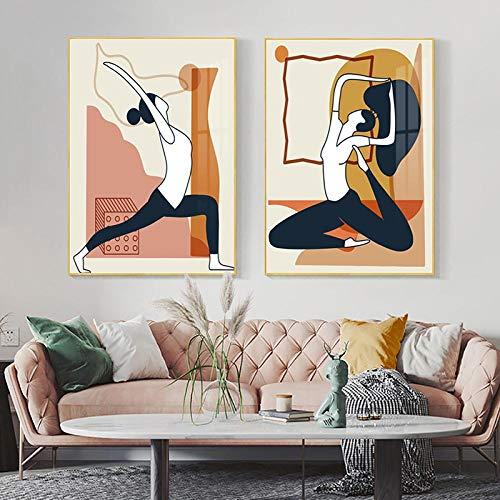 YCHND Yoga Girl Poster Arte de la Pared Dibujos Animados Personaje Cuadro de la Lona Impresiones abstractas Pared para Estudio de Fitness Habitación Decoración de la Pared Imagen 50x70cmx2 Sin Marco