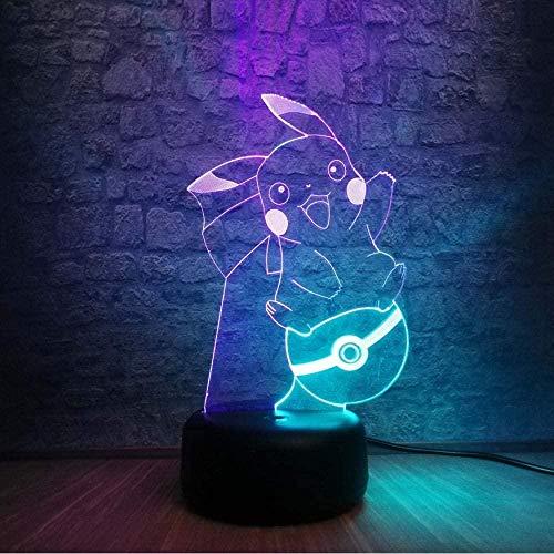 Lonfencr Pokémon Pikachu Figuras de acción 3D Mixed Night Light 7 Color Cambiando la Bombilla LED Lámpara de Dibujos Animados USB Tacto Tabla Decoración Niños Juguetes Regalo