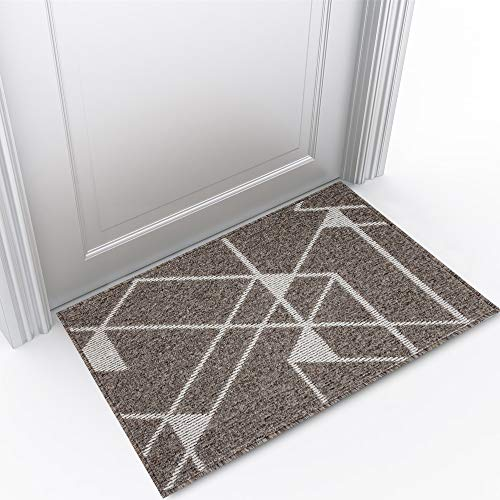 """Refetone Indoor Doormat Front Door Mat Non Slip Rubber Backing Absorbent Mud and Snow Magic Inside Dirts Trapper Mats Low-Profile Entrance Rug Machine Washable - 32""""x 48"""", Camel"""
