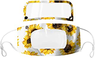 Sugarbig Sunflower Painted Face Guard with Detachable Eye Shield and Transparent Mouth Window, Reusable PVC Face Bandanas Facial Protector, Suitable for Outdoor Cycling Running and Daily(Yellow)