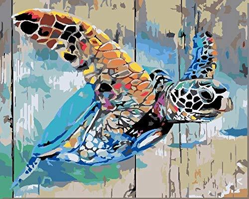 Pintar por Numeros Adultos Tortuga De Color Paint by Numbers,Niños DIY Pintura por Números con Pinceles y Pinturas-40 * 50 cm Pintura Guiada por Numeros(Sin Marco)