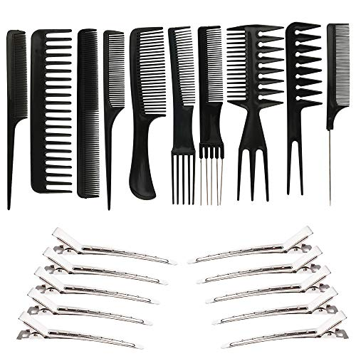10 PCS Hair Stylists Professional Anti Static Styling Comb Set and 10 PCS Duck Bill Clips Variety Pack Great for Salon Barber All Hair Types amp StylesIn total 20PCS