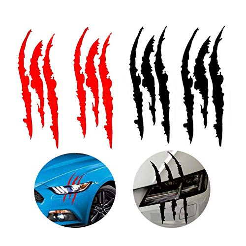 4PCS Claw Marks Decal Reflective Sticker, Waterproof Headlight Decal Fit for All The car Models (Red and Black)