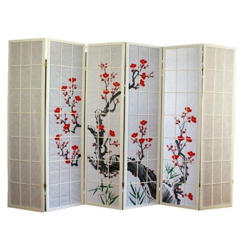 PEGANE Biombo de Madera con Flor de Cerezo Color Blanco de 6 Paneles