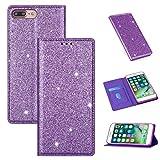 Xyamzhnn Funda telefónica para iPhone 8 Plus / 7 Plus Glitter Ultrathin Magnético Horizontal Flip CUBIERTE CUBFER del TELÉFONO con SOSTENIDO Y Ranuras DE Tarjetas (Color : Purple)