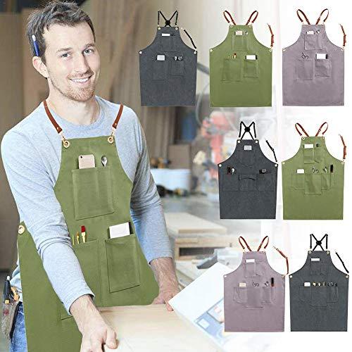 funnyfeng Leinwand Schürze, 100 Weicher Baumwolle Material Zurück Einstellbar Multi-Tool-Tasche Mode Praktisch Für Coffee-Shop Tea-Shop Florist Uniform