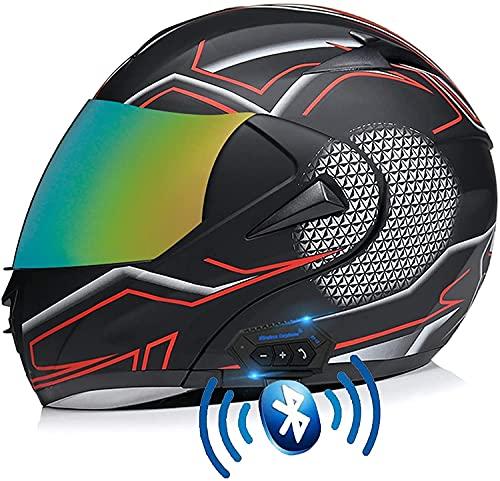 GPFFACAI casco integral moto mujer Casco de motocicleta integrado con bluetooth modular con tapa de cara completa HD doble lente doble parasol E motocicleta casco de cross-country a prueba de lluvia61