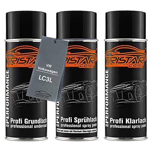 TRISTARcolor Autolack Spraydosen Set für VW/Volkswagen LC3L Hotchilirot Perl/Vermelho Chili Perol Grundlack Basislack Klarlack Sprühdose 400ml