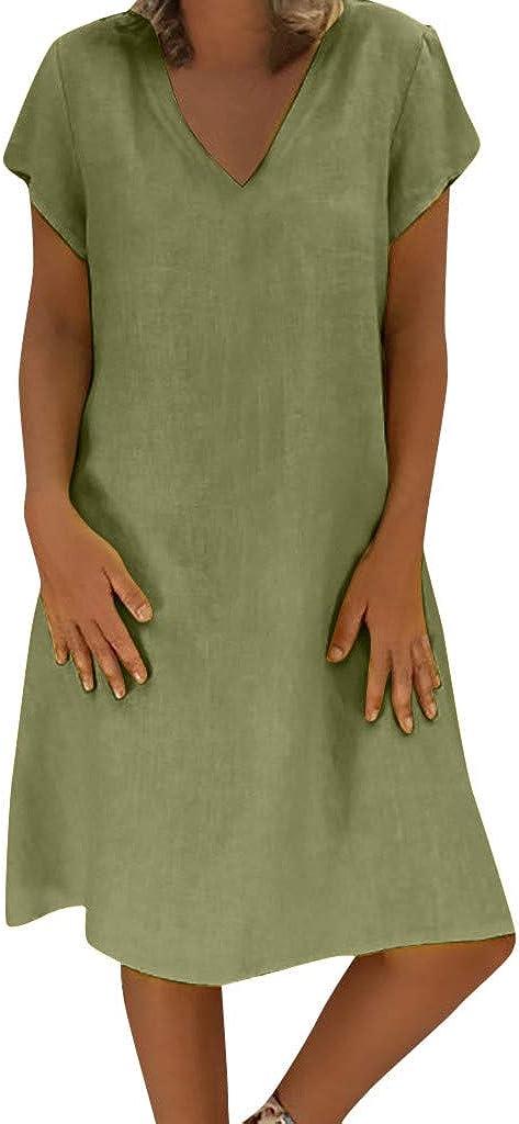 iQKA Women Plus Size Summer Feminino Vestido V-Neck Solid Casual Loose Shirt Dress Ladies Mini Tunic Dress