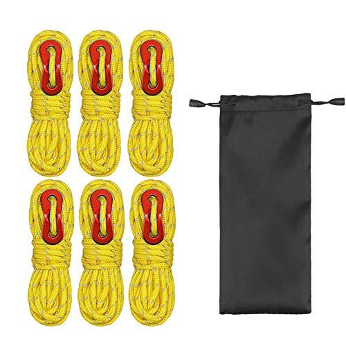 MAGARROW Abspannseile Reflektierende Guy Line Zeltseil-Campingkabel Paracordseil mit Seilspanner für Zelt Zeltplane Camping (Gelb)