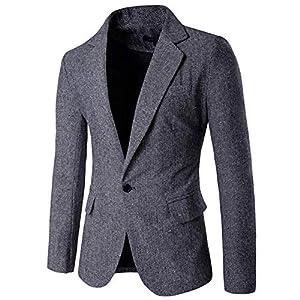 [YFFUSHI] メンズ テーラードジャケット 長袖 一つボタン 全3色 スリム ビジネス (M, ライトグレー)