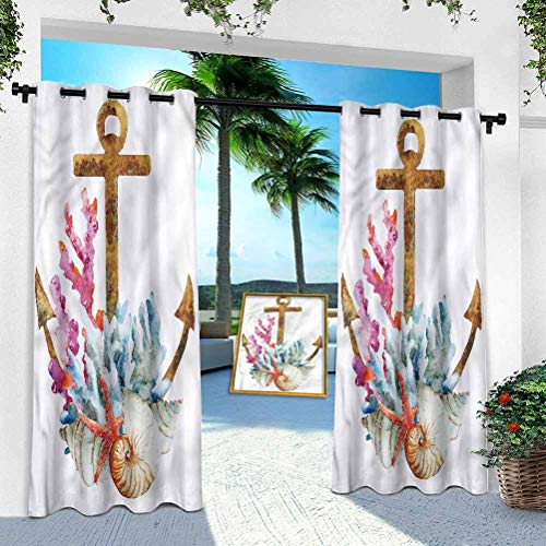 Pergola Panel de cortina al aire libre, ancla, estrella de mar de acuarela, 95 pulgadas de largo a prueba de herrumbre extra ancha con ojales en la parte superior para interiores y exteriores (1 panel)