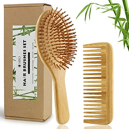 Bamboo Paddle Hair Brush and Comb Set Natural Eco-Friendly No Wooden...