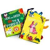 MOOKLIN ROAM 2Pcs Livre de Tissu de Bébé, Animal de Queue Bébé Eveil Livre, Educatif Activité en Jouets Cadeau pour Enfants Bébé Bambin (Lapin + Forêt)