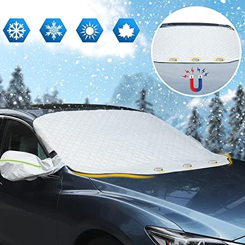 Copri Parabrezza per Auto Inverno Protezione Parabrezza Auto Copertura per Parabrezza Auto 3 Aagneti Antighiaccio Contro Neve, Ghiaccio, Gelo, Polvere, Sole UV Adatto la Maggior Parte dei Veicoli