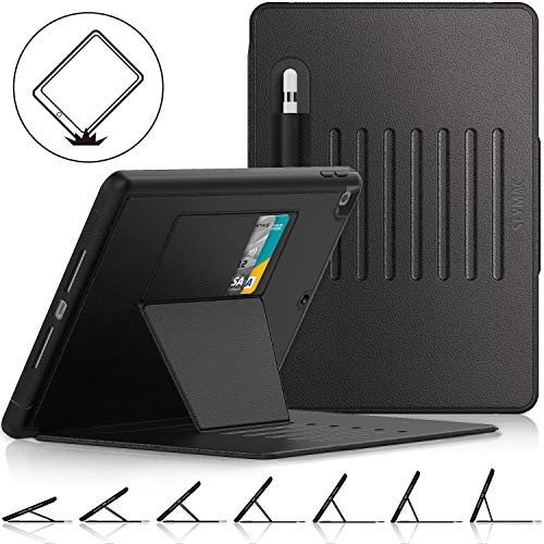 SEYMAC Stock ipad 7th Generation 2019 10.2 Case, [Strong Magnetic] Auto Sleep Drop proof Cover with [Absorbing Stand] Multiple Angles [Pencil Holder]&Card Slot Feature for iPad 10.2 Inch (Black/Black)