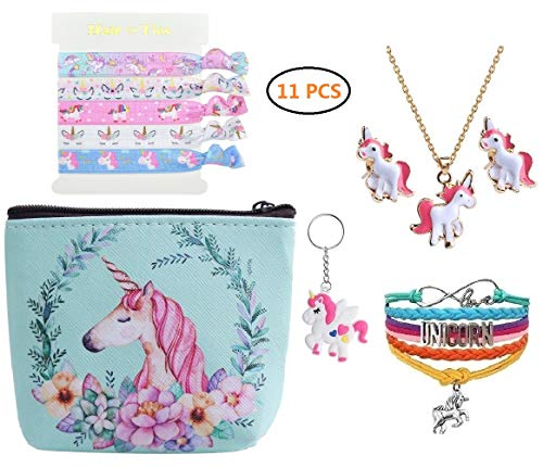 Unicorn Gifts - Necklace/Bracelet/Earring/Mini Bag/Hair Ties/Keychain 11 PCS
