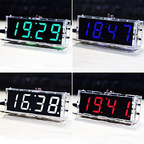 Zwbfu Reloj digital compacto de 4 dígitos con luz LED, control de la temperatura, fecha, hora, con funda transparente.