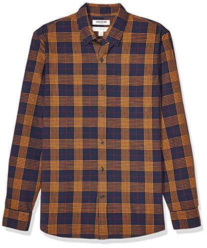Marchio Amazon - Goodthreads - Camicia da uomo a maniche lunghe, vestibilità aderente, motivo scozzese Chambray, Navy Gold Oversized Glen Plaid, Medium Tall