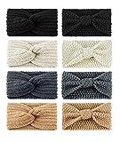 Finrezio 8 Stück Frauen Stirnbänder Boho Blumenart Criss Cross Head Wrap Warm Sperriges Gehäkeltes Haarband Elastic Bow Zubehör Für Frauen Mädchen Stil A
