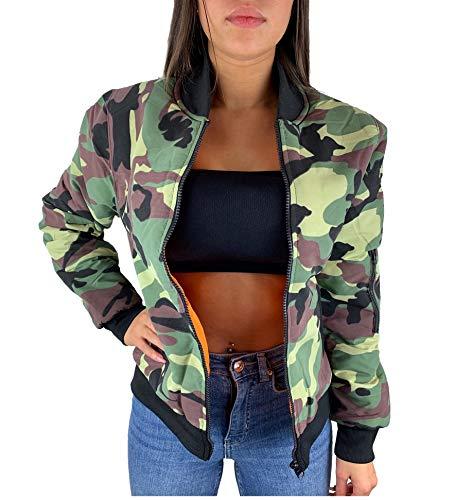 Worldclassca Damen Camouflage Bomber Jacke MILITÄR ROSA PINK Bomberjacke Retro Piloten Biker ÜBERGANGS Blouson Fliegerjacke Army Parka KURZ MIT REIßVERSCHLUSS Zip (S/M - (36-38), Khaki-Camouflage)
