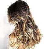 Ugeat 24 Pulgadas Pelucas Lace Front Natural Humano #1b/6/16 Off Black y Brown a Golden Brown Ombre 130% Densidad Pelucas de Mujer Rizadas Pelo Natural Full Head