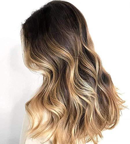 Ugeat 14 Zoll Front Lace Wig Brasilianische Haarverlangerung #1b/6/16 Off Black und Medium Brown bis Golden Blonde Ombre Dichte 130 Remy Human Hair Wigs Schwarze Perucke Lace Front