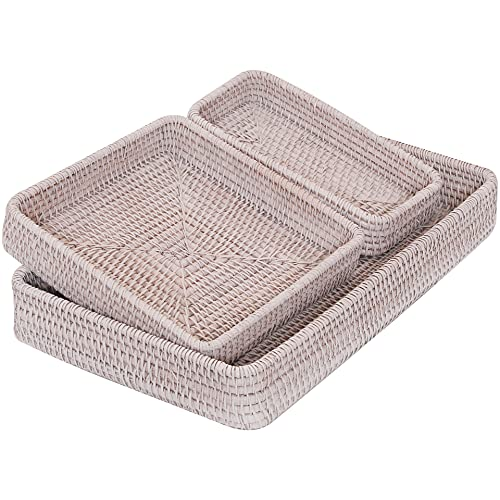 White Decorative Trays for Coffee Table Woven Tray Rectangle Bowl Wicker Flat Basket Weave Kit Rattan Baskets for Storage for Dishes Fruit Organizer for Kitchen Counter Top Decor (White wash )