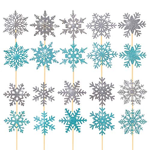 60pcs Snowflake Cupcake Toppers Snow Cupcake Topper Picks for Girls Birthday Frozen Theme Party Christmas Baby Shower Wedding Decoration Supplies Winter Wonderland Theme Cupcake Topper