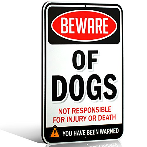 Signs Authority Beware of Dog Sign - Warning Sign - Beware of Dog Signs for Fence - 1/8 Thick Di-Bond Metal - 8 L x 11 H Rectangle - Aluminum