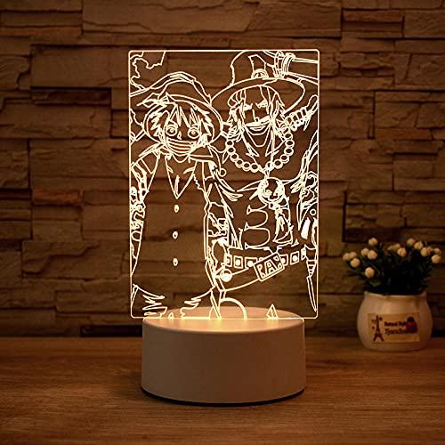 Luz Nocturna ,Lámpara De Ilusión Óptica Led 3D Con Placas Acrílicas De Patrones,Lámpara De Visualización Creativa Usb Regalo Para Niños,Luffy, Ace